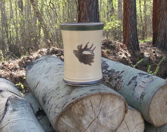 mug, elk mug, brown mug, tan mug, green stripe mug, hand made, ceramic mug, father's day, birthday, Montana elk,stoneware, coffee mug