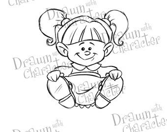 Little Girl Digital Stamp/ KopyKake Image- DS20-LILGIRLSIT
