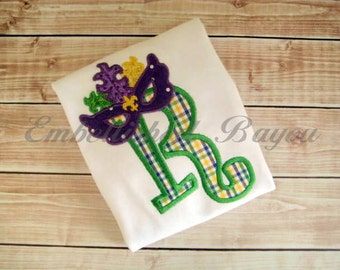 Mardi Gras Mask Initial Appliqued T-shirt for Girls