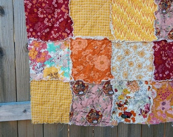 Baby Quilt Girl, Crib or Toddler, Rag Quilt, YOU CHOOSE SIZE, Wanderlust fabrics, Berry Red Orange and Gold, comfy cozy handmade bedding