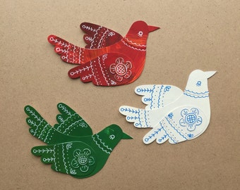 Paper Birds, Tricolor, Handmade, Mixed Media, Set of 3