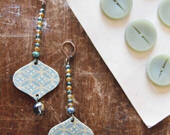 pendants earrings, shrink plastic earrings, beads earrings, polyshrink earrings, double faces earrings, bride earrings, handmade earring