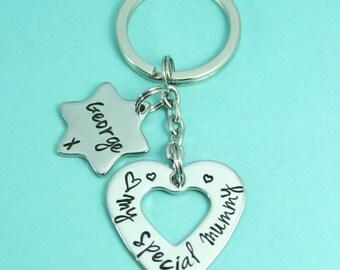 Personalised Heart Keyring   Key Chain   Keyring   Aluminium/Copper/Brass   Gift For Mum/Sister/Auntie/Nanny/Best Friend   UK