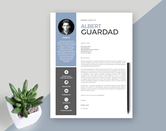 Resume template for Word - Instant download CV template - Creative design with cover letter, icons and multiple pages - easy edit