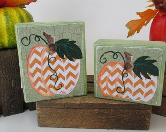 Chevron Pumpkin Blocks, Pumpkin Decor, Set of 2, Chevron Shelf Sitter, Rustic ,Mantle Decor, Thanksgiving, Halloween Blocks, Primitive Fall