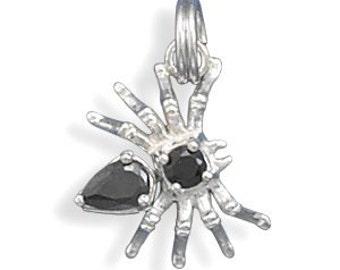 Halloween Spider Charm, Black Spider, Creepy Black Spider Charm, Black CZ Spider, Movable Sterling Silver Spider Charm with Black CZ Body