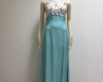 1960s Hand Beaded Easter/Prom/Bridesmaid Dress, size Extra Small (or Large Girls)