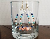 Turquoise, Lapis, Coral, and Jade Hoops