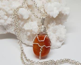 Wire Wrapped CARNELIAN Crystal Necklace OOAK Handmade Jewelry Healing Crystal Jewelry Stone Fairy Jewelry Wicca Bohemian Jewelry CN1024-2