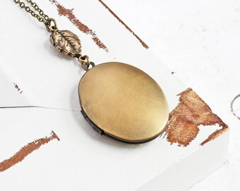 Oval Locket Necklace, Hand Finished Oxidized Brass Locket Pendant with Leaf Charm, Bridesmaid Jewelry Gift