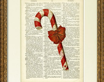 Dictionary Page Print - CHRISTMAS CANDY CANE - an 1800's dictionary page with a sweet vintage candy cane illustration - Holiday wall decor
