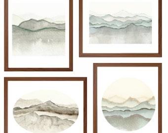 Watercolor Mountain Art Bundle,  Set of four watercolor art prints
