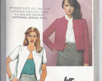 Simplicity Pattern # 9558 from 1980:  Misses Jiffy Unlined Jacket with jewel neckline , Bust 32 1/2, UNCUT