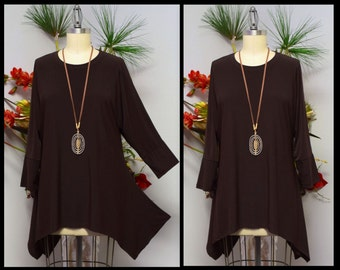 Free Shipping,Lagenlook Tunic, Plus size Tunic, Asymmetrical Tunic, Brown Tunic, Plus size top, Women top, Top Seller.