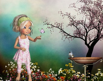 A dreamy garden scene image of young girl  nicole and a butterfly