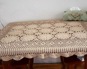 "Made to order ~ Hand crochet 39x55"" rectagular table cover, 100% handmade floral table cloth oblong, lace table topper for home decor"