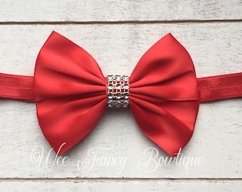 Red Christmas headband, red baby bow headband, fancy red headband, holiday headband, red headband, baby photo prop, red satin headband