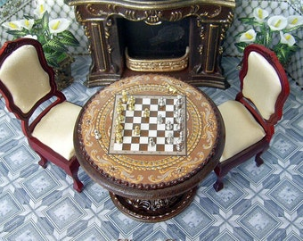Wooden chess Table and chess figures in a set. Handcrafted miniature. For doll House. 1:12 Scale.