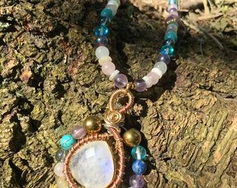 Rainbow Moonstone Gemstone Necklace