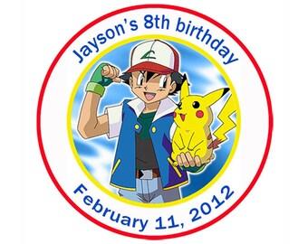 Digital File - Pokemon Round Personalized Birthday Sticker Labels
