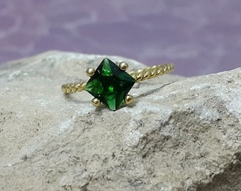 SALE! May birthstone,square emerald ring, gold ring, delicate ring, stackable birthstone ring, mothers ring,14k gold filled,engagement ring.