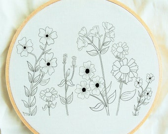 Flower Study, Hand Embroidery Pattern, Flower Embroidery Hoop Pattern, Embroidery Supplies, Beginner Hand Embroidery, Embroidery Sampler