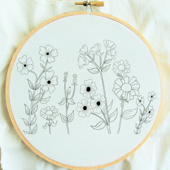 Flower Study Hand Embroidery Pattern Flower Embroidery Hoop