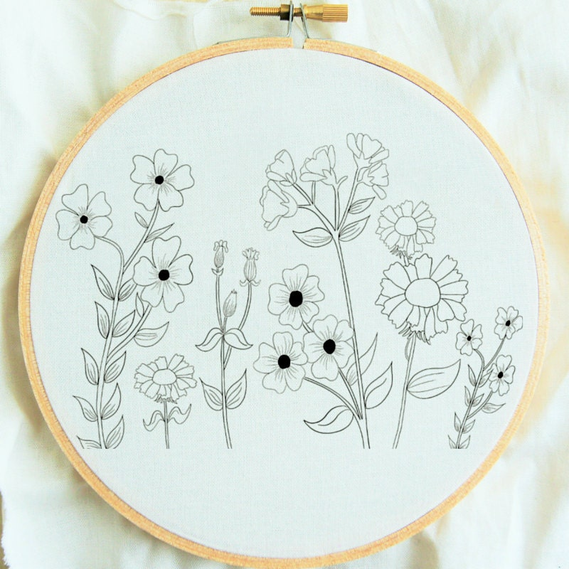 Flower study hand embroidery pattern flower embroidery hoop zoom dt1010fo