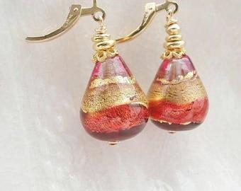 Murano Glass Teardrop Earrings