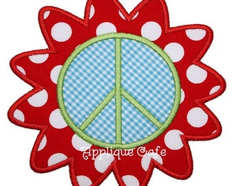 142 Flower Peace Sign Machine Embroidery Applique Design