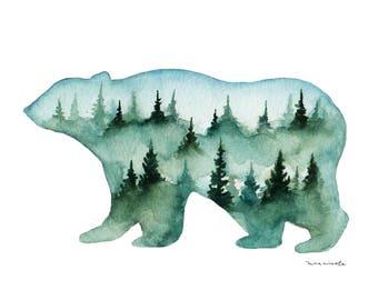 Little Bear Landscape - Watercolor Print