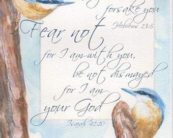 NUTHATCHES bible verse scripture mounted watercolour print by Ruth Nolan