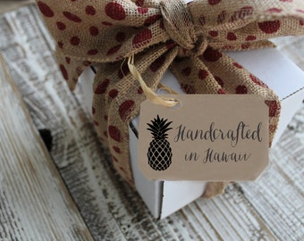 Rubber Stamp Handcrafted in custom rubber stamp tag label with personalized info --5803