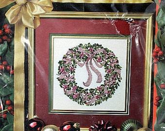 Do not cross ribbon etsy ribbon embroidery kit christmas kit beginner kit holly wreath diy vintage solutioingenieria Image collections
