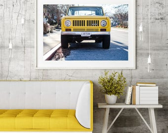 "Coastal Jeep Photography, Large Format Wall Art Print, Fall Winter Photography, Antique Jeep Photography, Yellow Truck, ""Jeep International"""