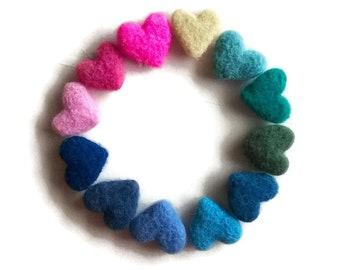 Wool Felt Hearts - Small Felt Hearts - Handmade Felt Hearts - 100 % Wool Felt Hearts - Wool Felted Hearts - Home Decoration Heart Ornaments