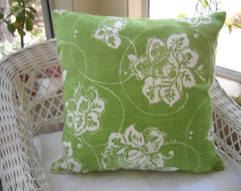 "Large batik style print pillow cover ..  kiwi  lime green  and white ...23"" square"