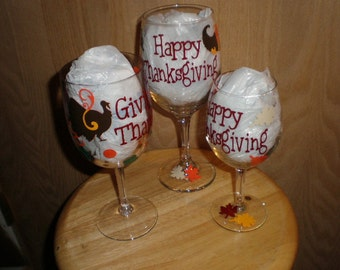 Thanksgiving Turkey Pilgram Hat or Cornicopia Wine Glass Giving Thanks