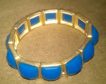 Vintage Tamina Stretch Bracelet - Colors - Gold and Blue