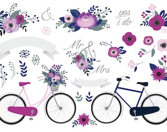 Premium Vector Clipart - Wedding Stationery Clipart - Rustic Floral Poppy Wedding - Vintage Bicycle - Shabby Romantic Wedding Purple