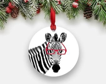 ZEBRA with Glasses Ornament - Round Aluminum Circle Holiday Christmas Tree Ornament, Black and White Animal Art Print Gift Stocking Stuffers