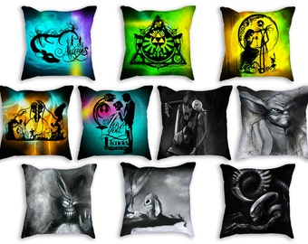 "Throw Pillows stuffed 18""x18"" double sided - Featuring work from my Geek hand cut paper art & charcoal illustrations"