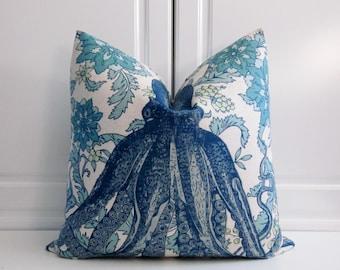 Thomas Paul Decorative Pillow Cover-Indigo & Turquoise Octopus-20x20, 22x22,24x24