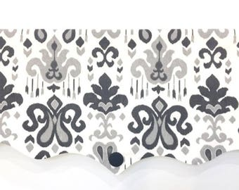 Custom Window Valance Black White Gray Fleur de-Lis Home Decorating Invisible Rod Pocket Lined