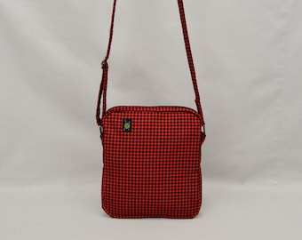 Small Shoulder Bag Zipper Closure, Fabric Crossbody Purse Handbag, Red and Black Houndstooth