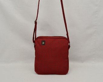 Small Shoulder Bag Zipper Closure, Fabric Crossbody Purse Handbag, Travel Purse, Mod Punk Ska Rude Girl, Red and Black Houndstooth