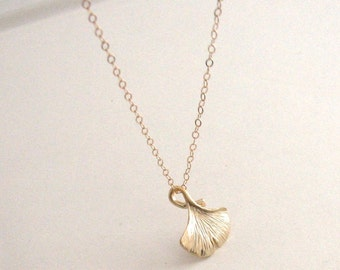 Gold Ginkgo Leaf Necklace, Gold Leaf Necklace, Woodland Jewelry, Woodland Necklace, Gold Leaf Necklace - 14K Gold-Filled Chain