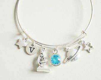 Science bracelet, Science jewelry, Joyeria científica, Physics gift, Planetary Scientist, Scientist Gift, Solar planet, Saturn Charm, Bangle