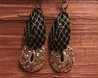 Black gold dangle