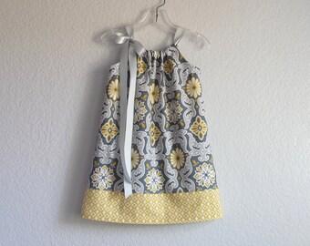Girls Grey and Gold  Pillowcase Dress - Dark Grey Sun Dress with Gold - Geometric Print Dress - Size 12m, 18m, 2T, 3T, 4T, 5, 6, 8 or 10